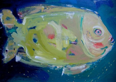 "Magic Fish/ Acrylic 13 x 20""  $150."