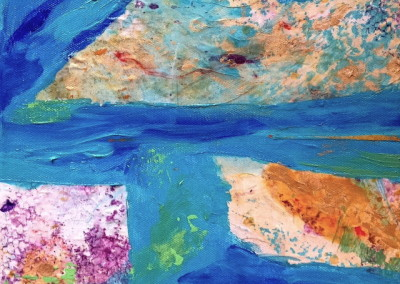 "Amisdt Azure Waters/mixed media on canvas 10x10"" $275."